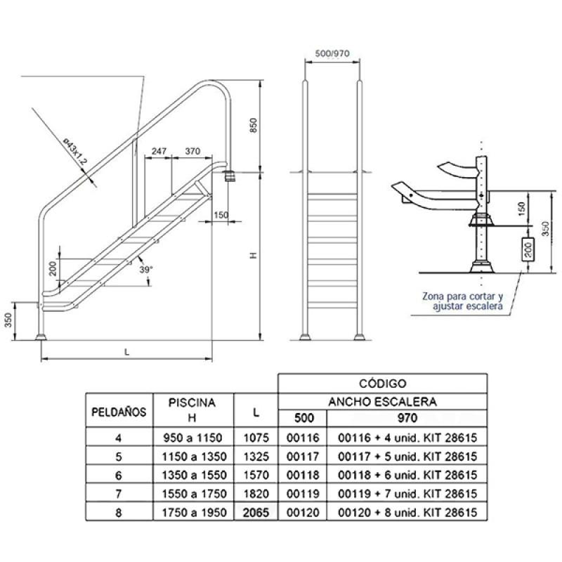 Escaleras medidas elegant with escaleras medidas trendy for Escaleras portatiles precios